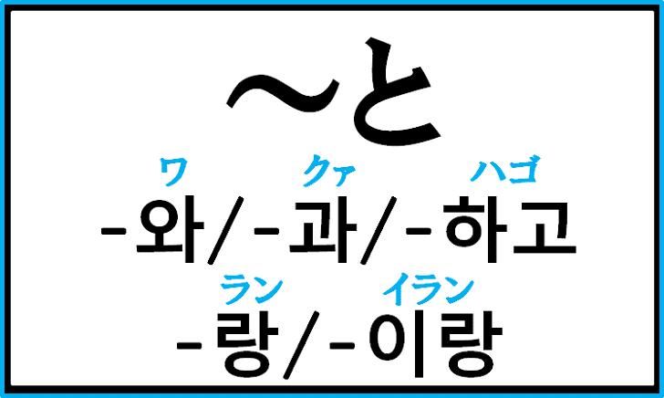 助詞「~と」の韓国語「-와/-과/-하고/-랑/-이랑」の使い分けについて例文を見ながら解説
