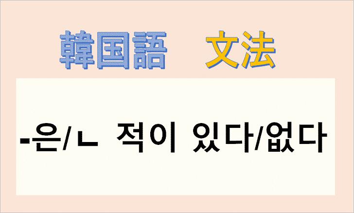 韓国語文法「ㄴ 적이 있다/없다」を解説