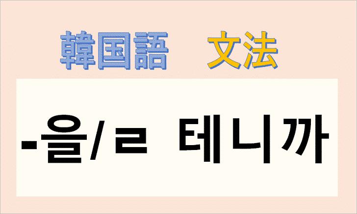 韓国語文法「ㄹ 테니까」を解説