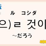 韓国語文法「-(으)ㄹ 것이다」を解説