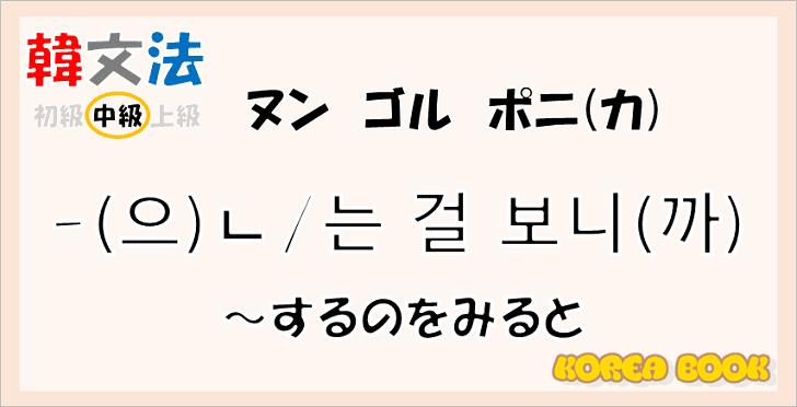 韓国語文法「-(으)ㄴ/는 걸 보니(까)」を解説