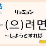 韓国語文法「-(으)려면」を解説