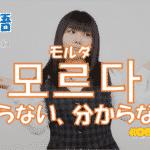 韓国語単語「모르다」を解説