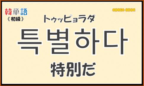 韓国語単語「특별하다」を解説