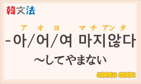 韓国語の語尾【-아 마지않다/-어 마지않다/-여 마지않다】の意味