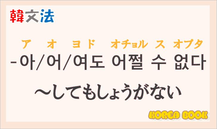 韓国語の語尾【-아도 어쩔 수 없다/-어도 어쩔 수 없다/-여도 어쩔 수 없다】の意味