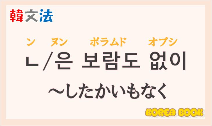 韓国語文法の語尾【-ㄴ 보람도 없이/-은 보람도 없이】の意味と使い方を解説