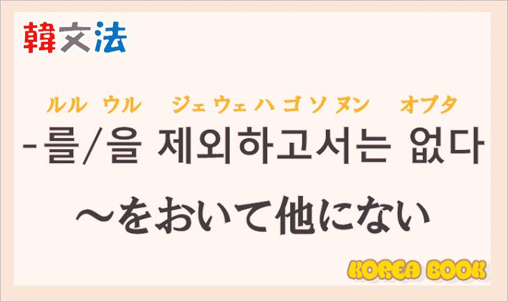韓国語文法の語尾【-를 제외하고서는 없다/-을 제외하고서는 없다】の意味と使い方を解説