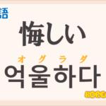 「悔しい」の韓国語は?ハングル「억울하다(オグラダ)」の意味と使い方を解説!