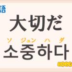 「大切だ」の韓国語は?ハングル「소중하다(ソジュンハダ)」の意味と使い方を解説!