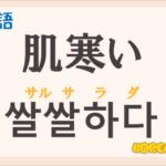 「肌寒い」の韓国語は?ハングル「쌀쌀하다(サルサラダ)」の意味と使い方を解説!