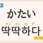 「かたい(固い,硬い,硬い)」の韓国語は?ハングル「딱딱하다(タッタッカダ)」の意味と使い方を解説!