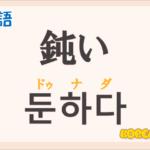 「鈍い」の韓国語は?「둔하다(ドゥナダ)」の意味と使い方を解説!